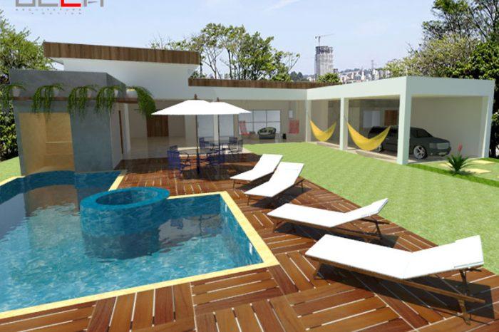 Área de lazer com piscina ao ar livre